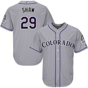 Men's Majestic Colorado Rockies Bryan Shaw Gray Cool Base Road Jersey - Authentic