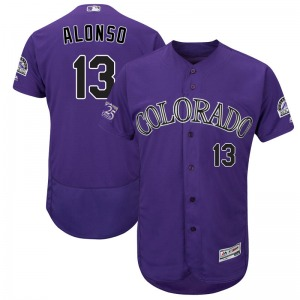 Youth Majestic Colorado Rockies Yonder Alonso Purple Flex Base Alternate Collection Jersey - Authentic